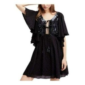 Free People Moonlight Romance Mini Dress, Black, M